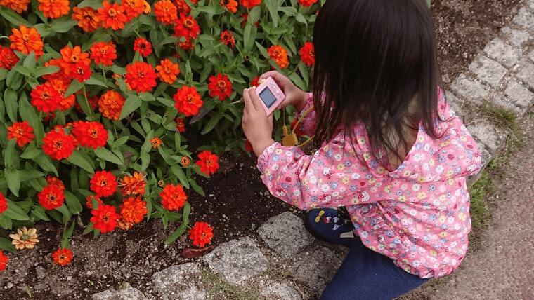 秋キャンプ 子供 遊び キッズカメラ